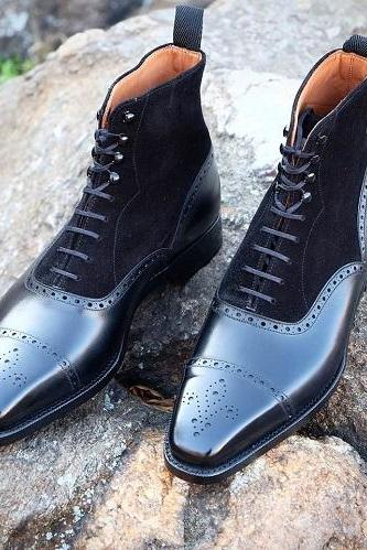 Handmade Black Leather Oxfords Ankle High Boots