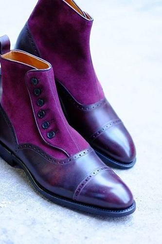 Handmade Men's Button Chelsea Leather boots, Custom made boots for men