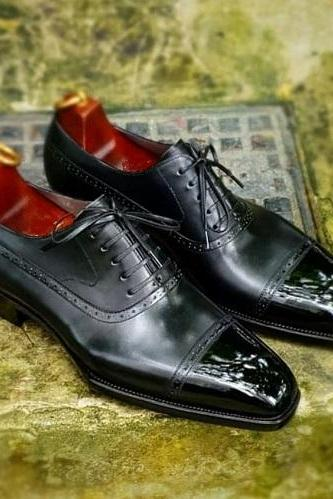 Handmade Men's Black Leather Oxfords Dress Shoes