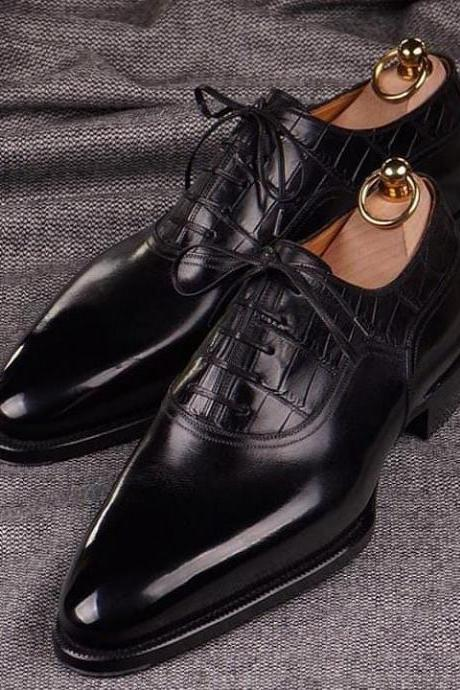 Men's Handmade Black Leather Oxford Dress Shoes For Men