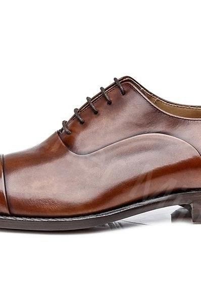 Men's Leather Toe Cap Brown Patina Shoes, Best Handmade Dress Shoes For Men
