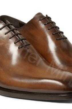 Men's Handmade Whole cut Leather Shoes, Genuine Leather Lace up Shoes
