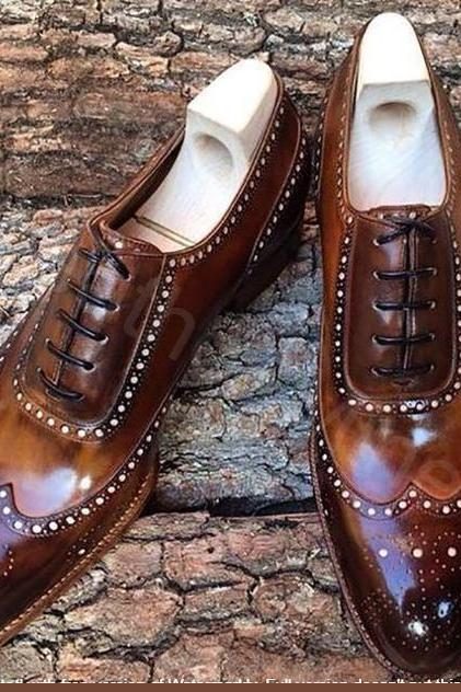 Men's Leather Wingtip Shoes, Handmade Leather Brown Patina Wingtips Dress Shoes
