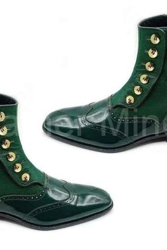 Men's Handmade Green Leather Button Boots, Genuine Leather Green Boots For Men