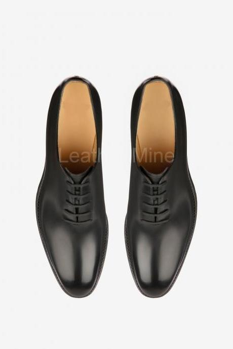 Men's Leather Whole Cut Oxfords Leather Shoes, Handmade Leather Dress Shoes