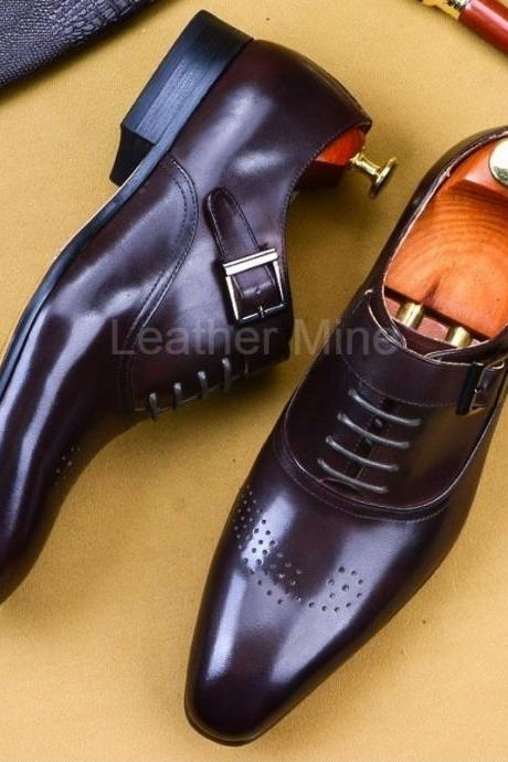 Men's Leather Monk Shoes, Handmade Monk Strap Leather Dress Shoes For Men