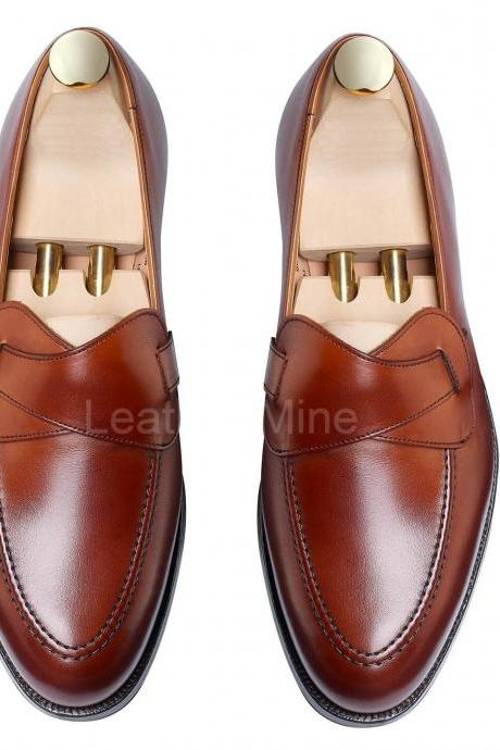Men's Handmade Leather Shoes, Genuine Leather Loafers Formal Shoes For Men