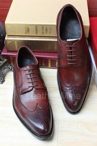 Men's Handmade Derby Leather Shoes, Genuine Leather Derby Wingtips Shoes For Men