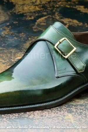 Men's Handmade Patina monk Strap Leather Shoes, Genuine Leather Dress Shoes
