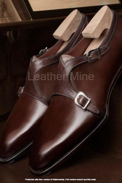 Men's Leather Double Monk Shoes, Handmade Leather Formal Shoes For Men