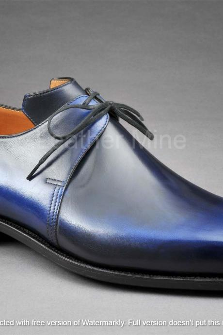 Men's Handmade Leather Shoes, Genuine Leather Patina Lace up