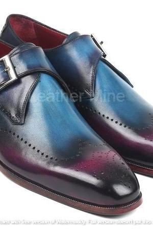 Men's Leather Monk Shoes, Handmade Leather Patina Formal Dress Shoes
