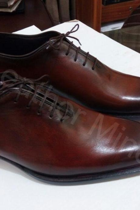 Handmade Leather Shoes Mens Brown Oxfords Dress Lace Up Shoes