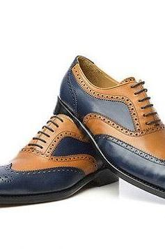 Mens Handmade Two Tone Brogue Wingtip Leather Dress Shoes