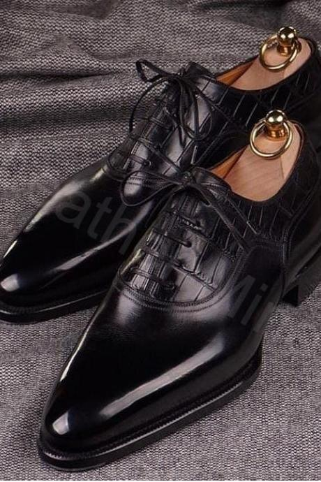 Black Leather Oxfords Shoes Mens, Handmade Leather Formal Shoes