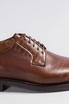 Mens Handmade Brown Derby Flat Lace up Formal Dress Shoes