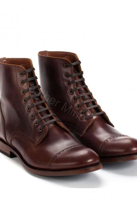 Mens Handmade Brown Leather Derby Lace Up Ankle Boots