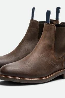 Brown Leather Chelsea Boots Mens, Handmade Leather Dress Boots