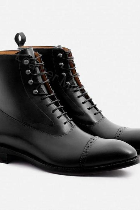 Mens Handmade Black Leather Ankle Boots, Custom Made Mens Handmade Dress Boots