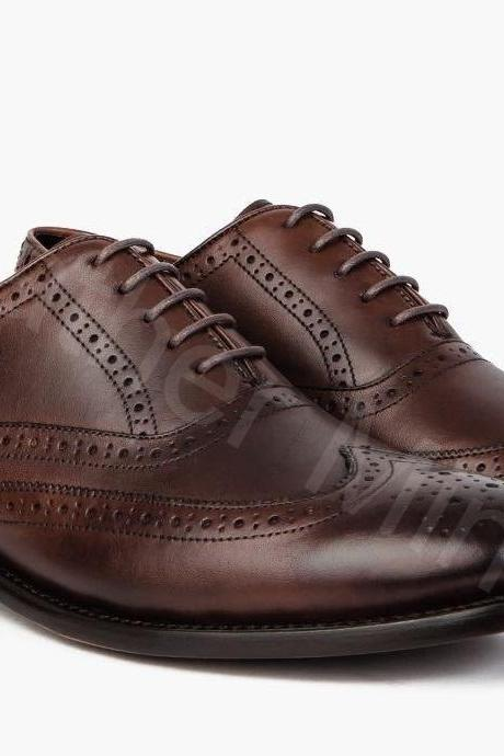 Leather Dress Shoes Mens Handmade Dark Brown Brogue Wingtip Dress Shoes