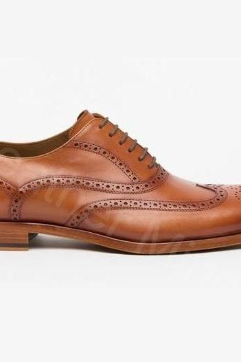 Leather Dress Shoes Mens Handmade Brown Brogue Formal Shoes
