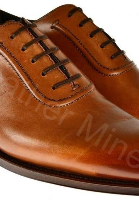 Leather Dress Shoes Mens Handmade Brown Plain Toe Formal Shoes
