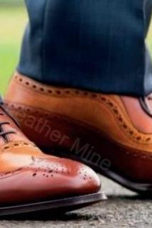 Wingtip Brogue Shoes Men, Handmade Two Tone Leather Formal Shoes Men
