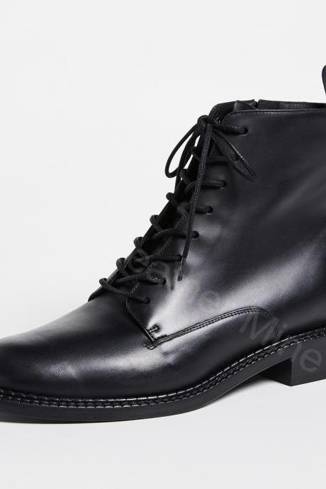 Black Lace Up Boots Mens, Handmade Black Leather Derby Boots For Men