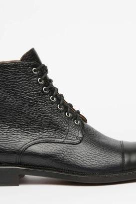 Black Lace Up Boots Mens, Handmade Black Grains Leather Derby Boots For Men