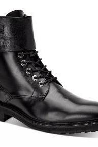 Black Lace Up Boots Mens, Handmade Black Leather Monk Lace up Boots For Men