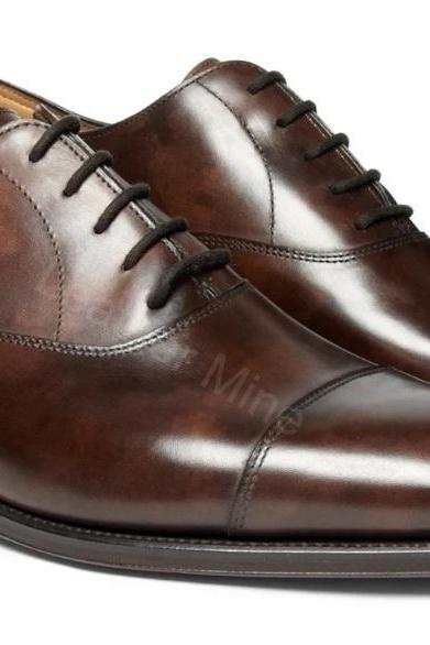 Oxfords Leather Shoes Mens, Handmade Brown Leather Dress Shoes For Men