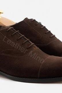 Oxfords Leather Shoes Mens, Handmade Suede Leather Shoes For Men