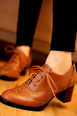 Women's Handmade Cognac Leather Shoes, Custom Made Brogue Leather Shoes For Women
