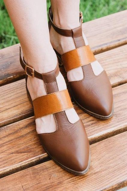 Women's Handmade Brown Leather Sandals Shoes, Custom Made Brown Leather Sandals For Women
