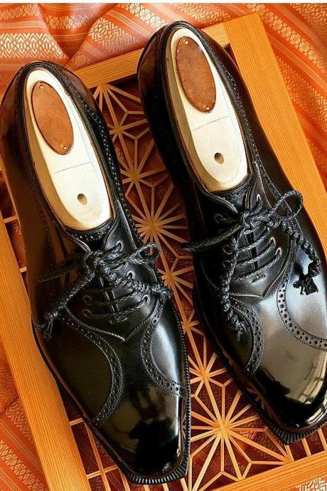 Men's Handmade Black Leather Oxfords Dress Shoes, Custom Made Formal Shoes For Men
