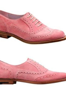 Men's Handmade Pink Suede Brogue Dress Shoes, Custom Made Suede Leather Brogue Formal Shoes