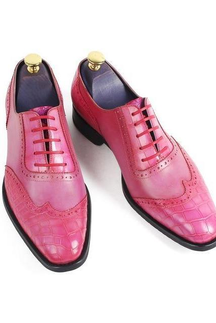 Men's Handmade Pink Patina Brogue Dress Shoes, Custom Made Pink Leather Formal Shoes