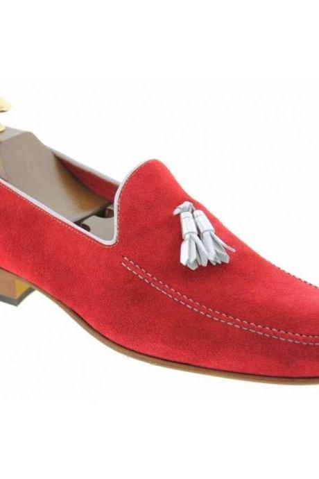 Men's Handmade Red Leather Loafers Dress Shoes, Custom Made Red Leather Tassel Loafers Shoes