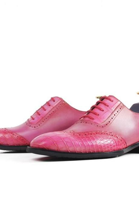 Men's Handmade Pink Patina Brogue Formal Shoes, Custom Made Pink Leather Brogue Dress Shoes