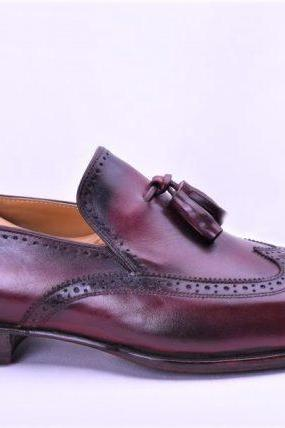 Men's Handmade Ox Blood Tassel Loafers Brogue Dress Shoes