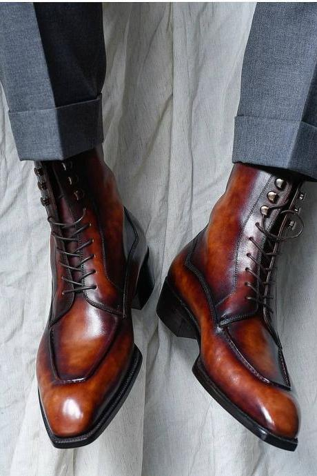 Men's Leather Derby Patina Leather Boots, Handmade Leather Dress Boots For Men