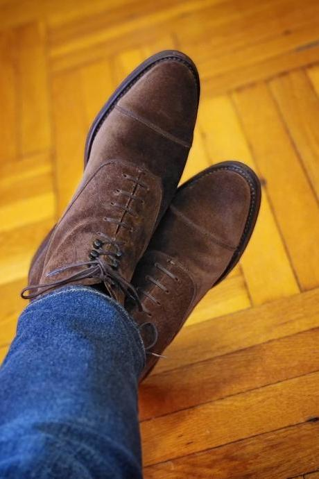 Men's Brown Suede Leather Dress Boots, Handmade Leather Formal Boots For Men
