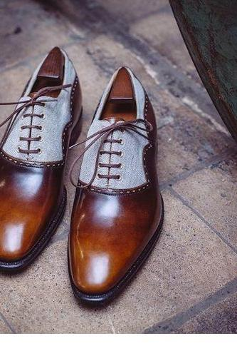 Two Tone Oxfords Shoes Men, Handmade Cognac Formal Shoes Men