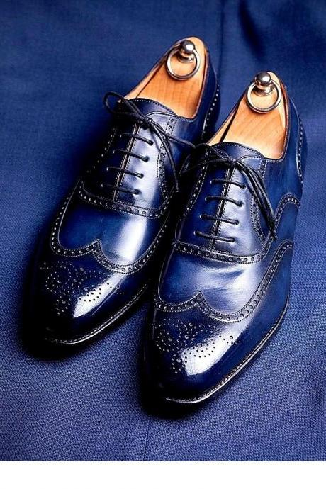 Men's Leather Brogue Wingtip Shoes, Handmade Blue Leather Brogue Dress Shoes
