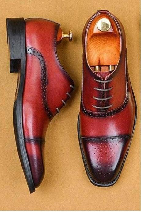 Mens Red Oxfords Shoes, Handmade Leather Formal Shoes