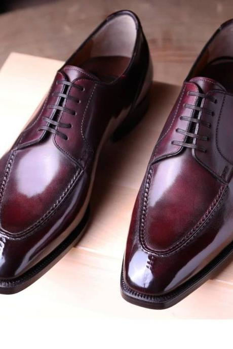 Men's Ox Blood Derby Leather Shoes, Handmade Leather Dress Shoes