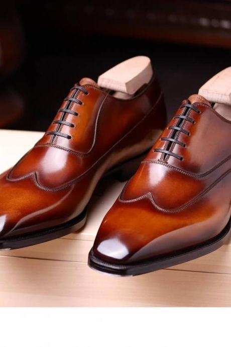 Men's Handmade Cognac Leather Wingtip Shoes, Genuine Leather Oxfords Shoes For Men