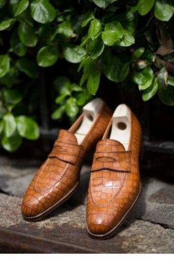 Men's Handmade Cognac Patina Croc Leather Loafers, Genuine Leather Patina Loafers Shoes