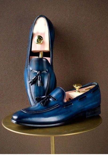 Handmade Men's Blue Leather Tassel Loafers Dress Shoes, Custom Made Best Shoes