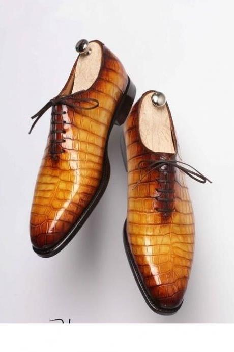 Men's Handmade Tan Patina Croc Leather Oxfords, Genuine Leather Patina Lace up Shoes